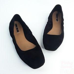 Tahari Zorel Black Suede Ballet Flats Square Toe